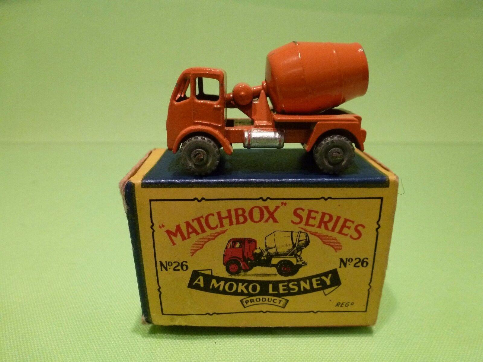 LESNEY MOKO MATCHBOX 26 ERF TRUCK CONCRETE MIXER - Orange - VG IN BOX - RARE