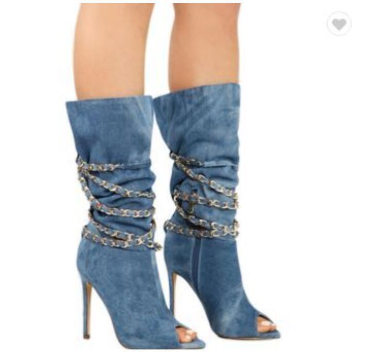 Short femme Denim Peep Toe européenne Oxford Stilettos Talon Haut Chaussures UK Sz35-45