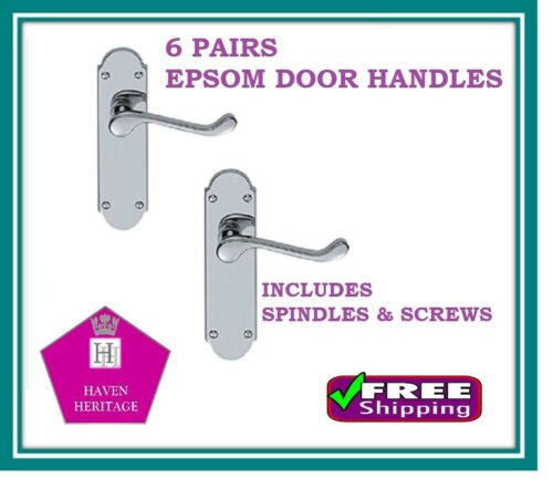 MULTI PACK X6 CHROME /'EPSOM/' Style Lever Door Handles Modern X6 Pairs D18