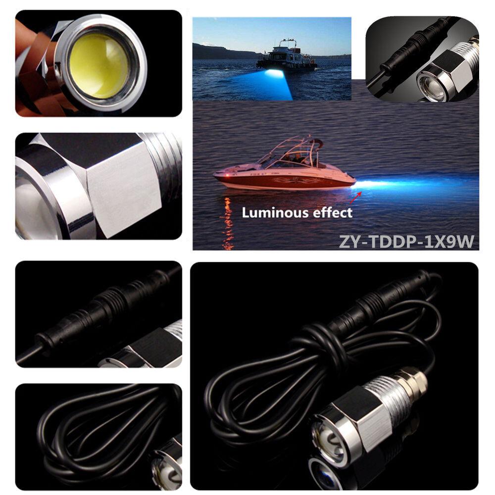 "6 LED DRAIN PLUG LIGHT 1/2"" NPT 9W Underwater Boat Wakeboard Diving Swim BLUE BP"