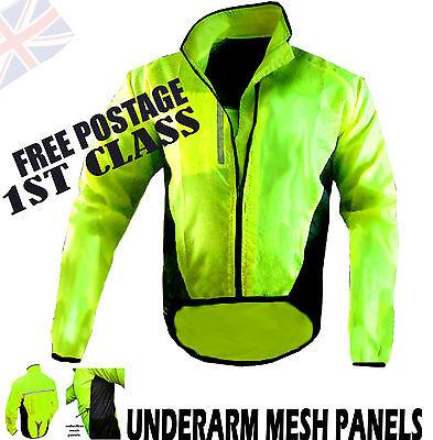 Offen Cycling Jacket Highly Visible Hi Viz Showerproof Breathable Running Riding Walk! Gut FüR Antipyretika Und Hals-Schnuller