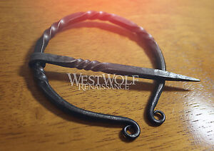 Hand-Forged-Scottish-Twisted-Black-Steel-Brooch-or-Cloak-Pin-Celtic-Viking