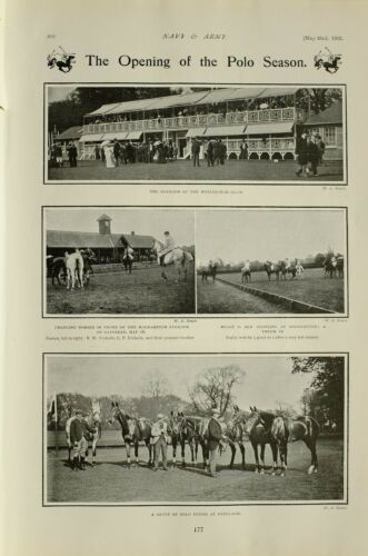 1903 PRINT OPENING OF POLO SEASON HURLINGHAM CLUB PONIES AT RANELAGH ROEHAMPTON