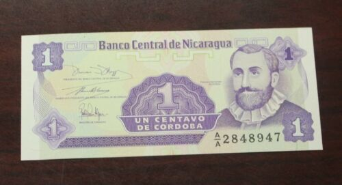1991 Nicaragua 1 centavo banknote uncirculated P-167 ND