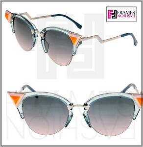 580d7c05ee640 FENDI IRIDIA Crystal FF0041NS Blue Pink Palladium Cat Eye Sunglasses ...