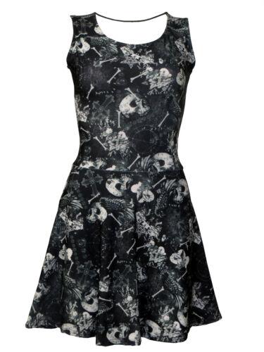 Gothic Bones Floral Skulls Hearts Spider Web Wiccan Cross Vintage Retro Dress