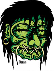 Green-Shrunken-Head-STICKER-Decal-Kruse-RK13-Roth-Like