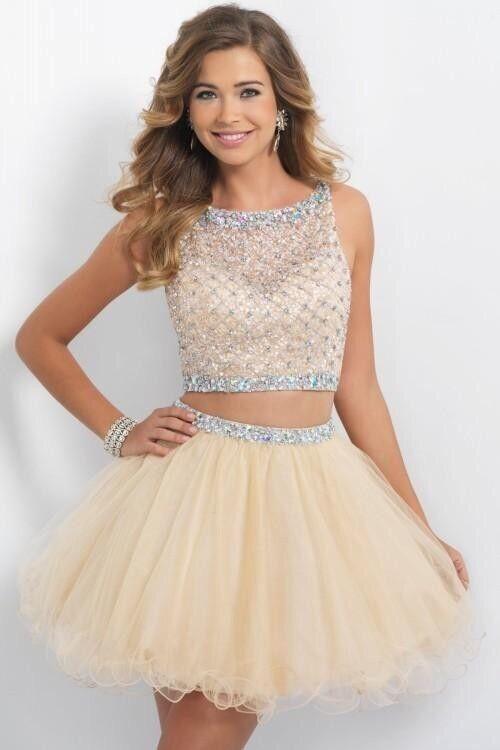 Short gold Two Piece Dress