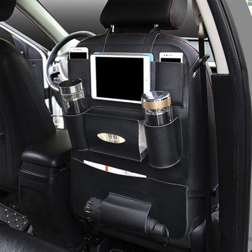 Universal Car Seat Back Multi-Pocket Leather Black Storage Bag Organizer Holder