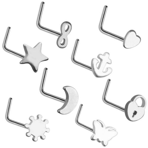 8 PCS Gold Heart Star Moon Curved Nose Stud Screw Ring Body Piercing Set 0.8mm