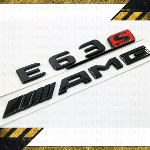 MERCEDES BENZ W212 W213 GLOSS BLACK SET AMG E63 S /& LOGO BADGES EMBLEMS STICKER