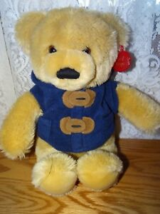 Keel-Toys-Simply-Soft-Collection-Plush-14-034-bear-tan-in-blue-vest