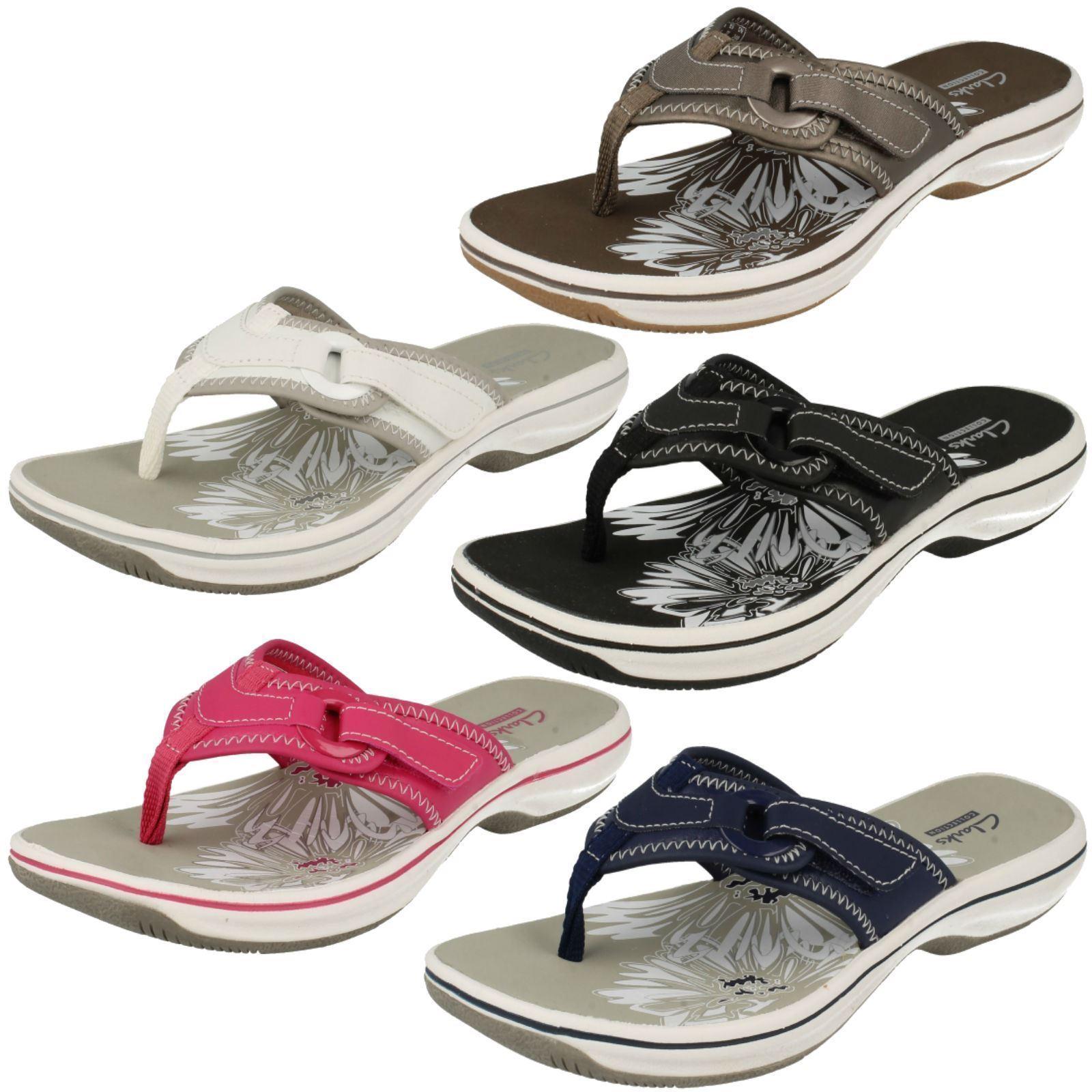 Clarks Brinkley Mila Black, Navy, White, Pewter Or Pink Toe-Post Mule Sandals
