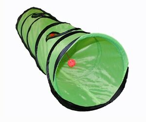 Brand-New-Kitty-Cat-Play-Tunnel-Pet-Toy-Four-Exit-Holes-4-Feet-Long-Green