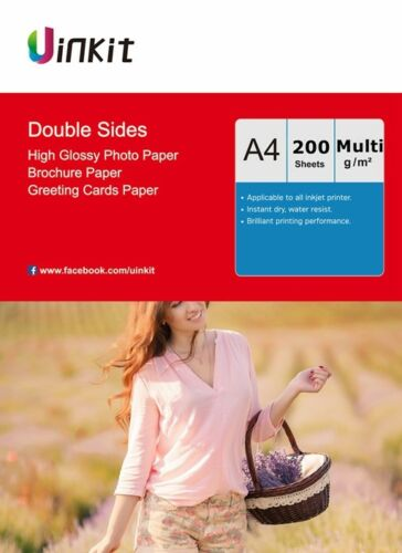 200sheets  A4 Size Double Sides High Glossy Inkjet Photo Paper Uinkit 140-300gsm