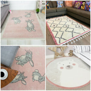Details about Kids Bedroom Rugs - Warm Cosy Pink Rugs For Girls Bedside or  Playroom