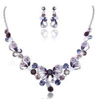 Purple Wedding Bridal Bowknot Austrian Crystal Necklace Jewellery Set Gift Box