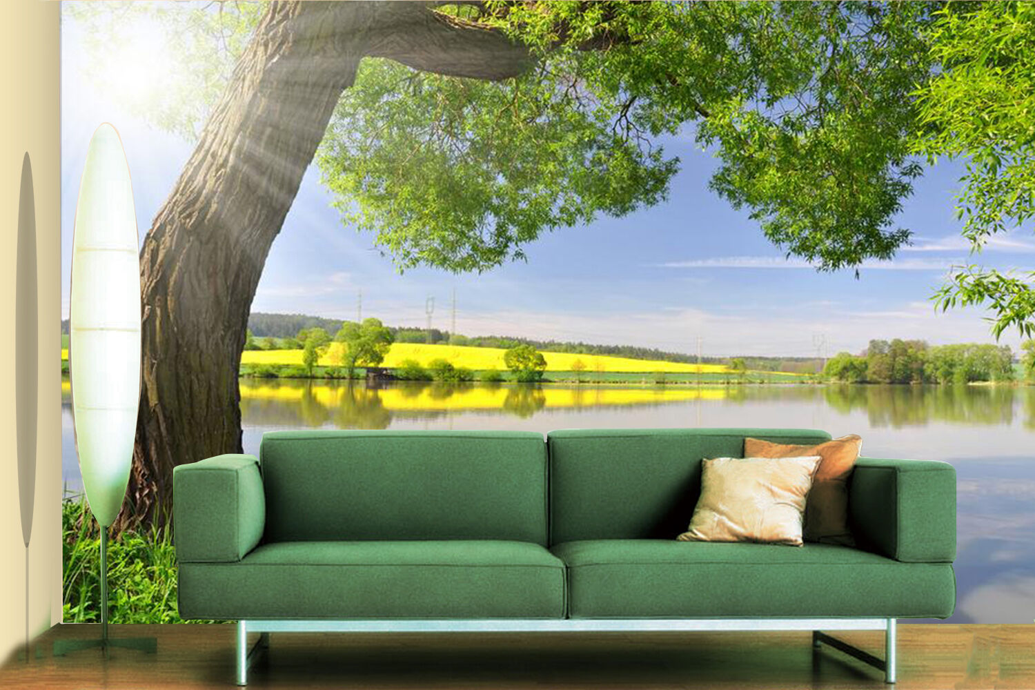 3D Green Tree And River 232 Wall Paper Wall Print Decal Wall Deco Indoor Wall