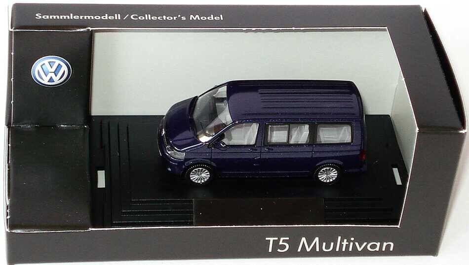 VW T5 7H MULTIVAN TDI BUS FACELIFT 2010 NIGHT blueE 1 87 WIKING (DEALER MODEL)