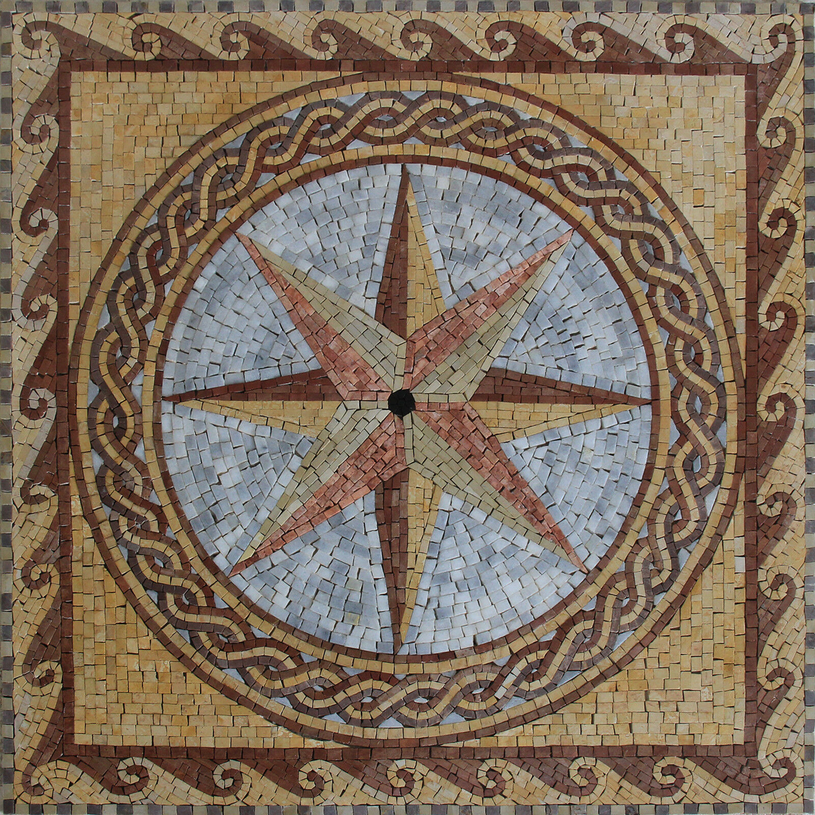 Square Compass Star Mosaic 31''X31