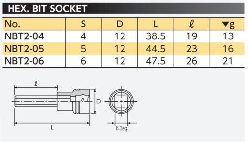 4~6mm KTC NEPROS 1//4 INCH DRIVE HEX BIT SOCKET NBT2-04~06 MADE IN JAPAN