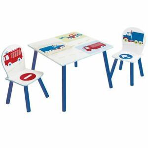 Worlds-Apart-Vehicles-Table-and-Chairs-Set-Kids-Activity-Table-amp-2-Chairs-CARS