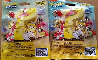 Lot of 2 Spongebob Squarepants Mega Bloks Series #3 figures mystery toy set NEW