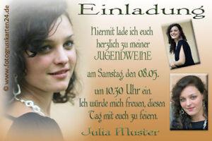 5x Einladungskarten Pfeil Jugendweihefeier Umschlag Jugendweihe Schrift
