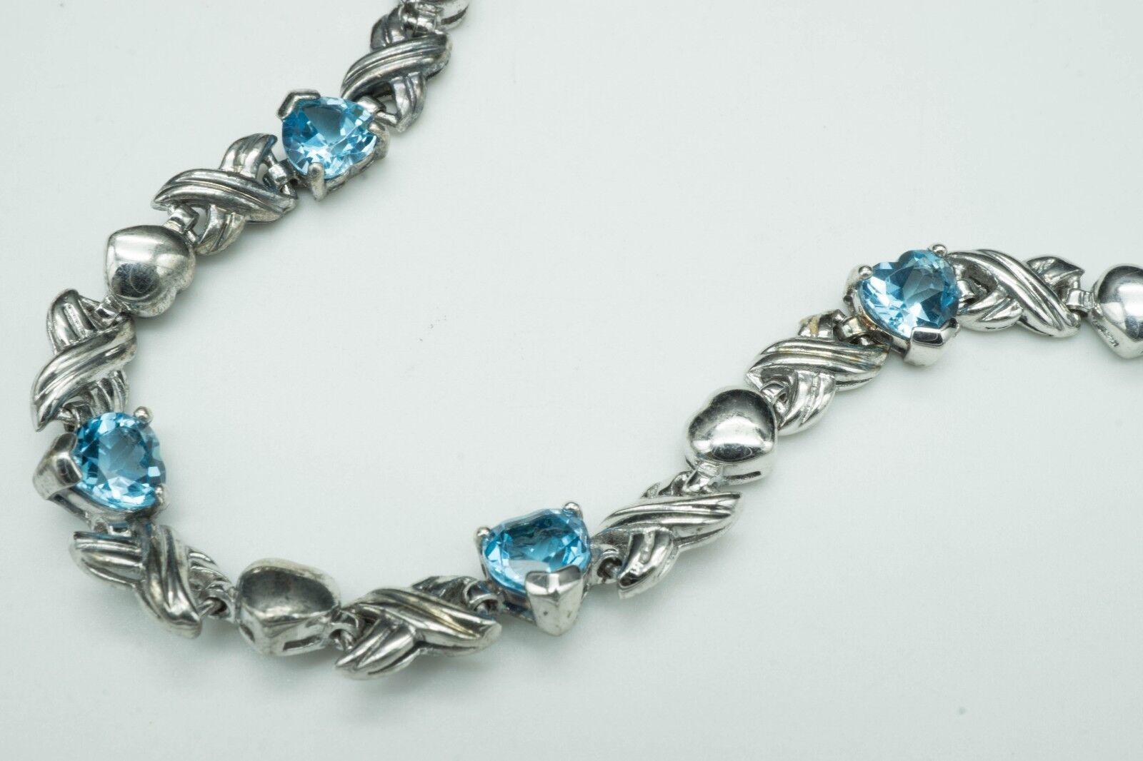 GemTV   Heart Shaped bluee Topaz & 925   XOX Tennis Bracelet   SZ 7.25(14.4g) NEW