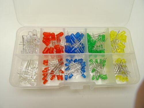 5mm 3mm LED Sortiment 150 Stück je Farbe 15 Stück diffus in Box C3658