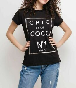Women-039-s-Ladies-Chic-Like-Coco-Slogan-Gold-Lettering-Cotton-T-Shirt-Tee-Top-New