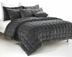 Plush-Faux-Mink-Augusta-Quilt-Set-Comforter-Set-Charcoal-Super-King