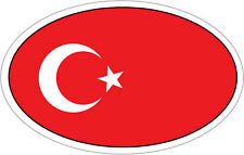 TURKEY / TURKISH FLAG IN AN OVAL VINYL STICKER - Western Asia 16cm x 9cm