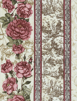 Pink Rose Border Stripe, Cream, Paris Rendezvous, Timeless Treas REMNANT (16 in)