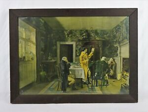 Antique-1907-William-Verplanck-Birney-Lithograph-Victorian-Smoking-Parlor-Scene