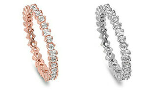 Sterling-Silver-925-STACKABLE-ETERNITY-WEDDING-BAND-DESIGN-CZ-3MM-RING-SIZE-4-10