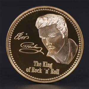 Elvis-Presley-1935-1977-Le-roi-de-N-Rock-Roll-Gold-Art-Coin-tr