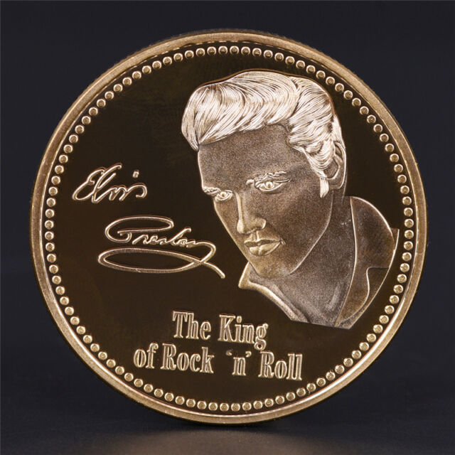 Elvis Presley 1935-1977 The King of N Rock Roll Gold Art Commemorative Coin SEAU