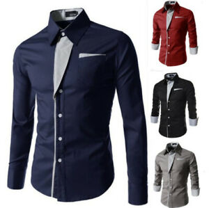 Fashion-Men-039-s-Casual-Shirts-Business-Dress-T-shirt-Long-Sleeve-Slim-Tops-Blouse
