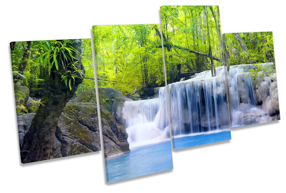 Foresta paesaggio tramonto tropicale MULTI TELA parete arte arte arte in scatola incorniciato c2876d