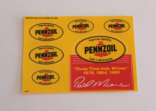 1988 PENNZOIL VINTAGE ORIGINAL RACING OIL STICKER DECAL 6 COUNT SHEET NASCAR NOS