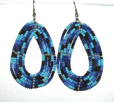 "Traditional South African Beaded Teardrop Earrings 2.25"" FREE SHIPPING T04"