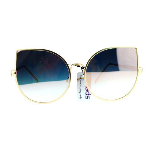 Foxy Cateye Flat Lens Sunglasses Super Oversized Metal Frame Mirror Lens