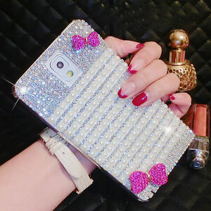 Charms-Bling-Crystasl-Hot-Pink-Bow-Diamonds-Pearl-Case-For-Various-Mobile-Phones