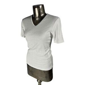 Emreco Cotton White Top T-Shirt NEW UK M 12 (EU40) Women's RRP £22 V-Neck