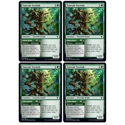 English x4 Tuinvale Treefolk //// Oaken Boon MTG Throne of Eldraine C M//NM
