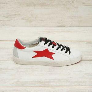 ISHIKAWA-sneakers-low-uomo-in-pelle-bianca-stella-rossa-stringata-inverno