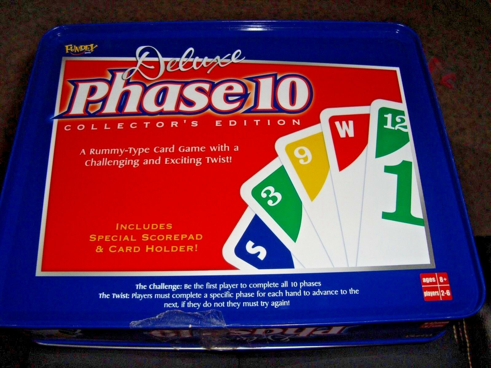 Deluxe Phase 10 Card Game Collector's Edition Tin Complete Excellent condition