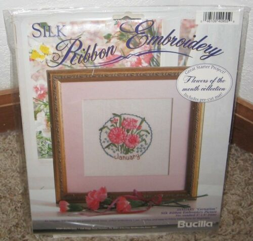BUCILLA SILK RIBBON EMBROIDERY KIT FLOWER OF THE MONTHJANUARYNIP