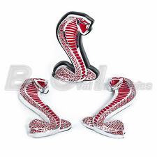 """2007-2014 Shelby GT500 RED Stripe Edition 4"""" Grille & Fender Snake Emblems 3PC"""